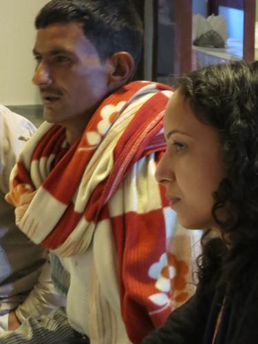 Mr Gafur, Dehrudan goat trader, and ILRI's Sapna Jarial