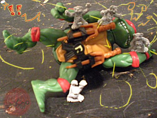 "Dark Horse Miniatures :: TEENAGE MUTANT NINJA TURTLES - ""The Terror Bears"" { 15 mm } vi / .. picnic attack !!   (( 1986 ))"
