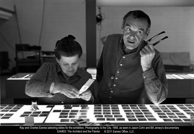 Ray and Charles Eames selecting slides (1968)