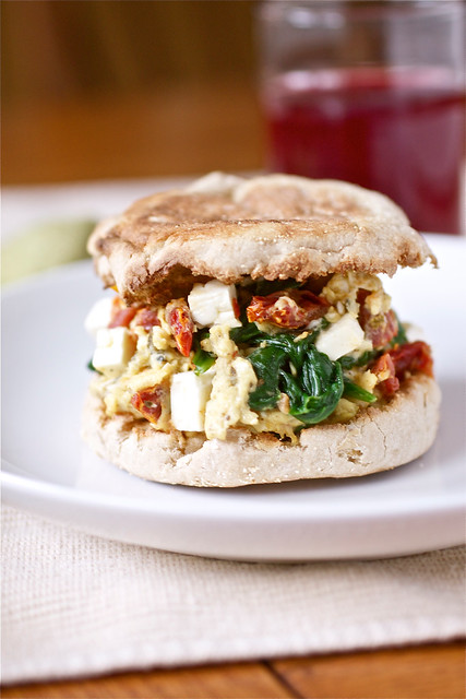 Spinach, Feta and Sundried Tomato Egg Sandwiches
