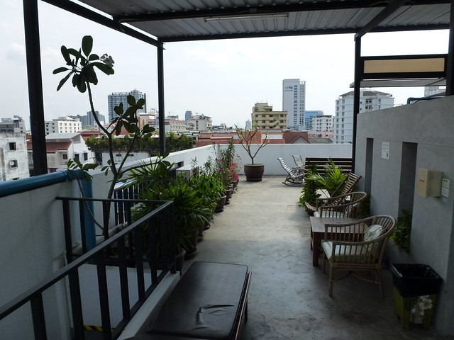 The rooftop terrace at the hostel