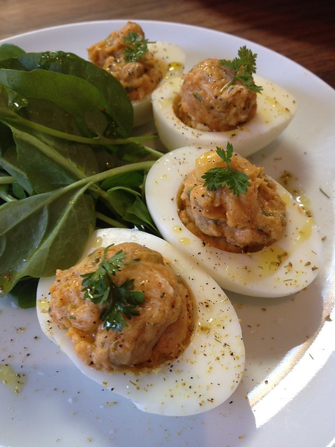 Farmshop deviled eggs with smoked trout | onemorebiteblog.bl ...