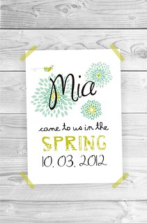 Personalized Children Baby Birth Announcement Kids Wall Art - A3 size print