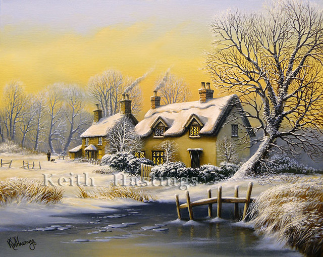 Winter Landscape With Cottages Flickr Photo Sharing