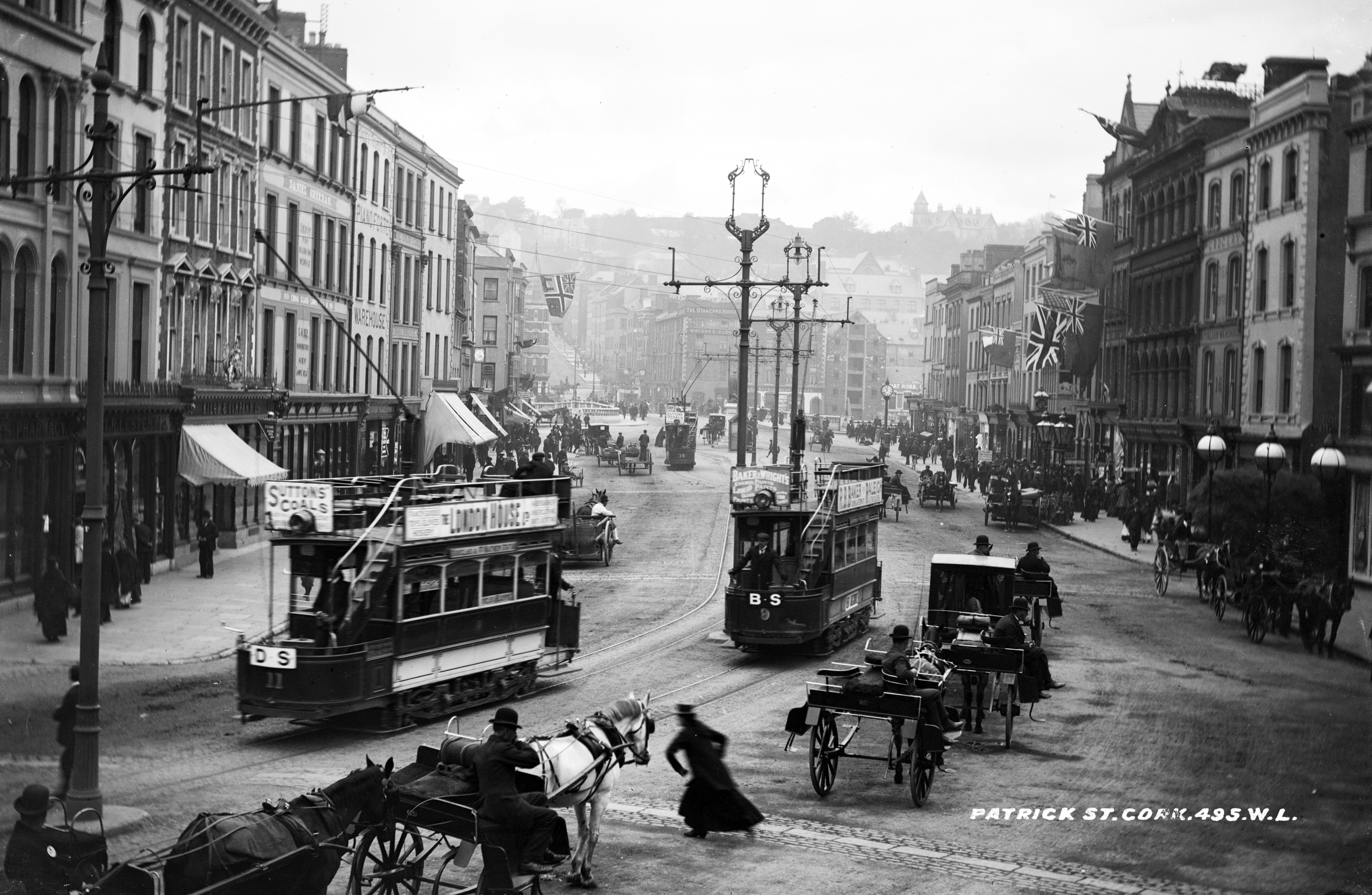 Old photo of trams on Patrick Street, Co. Cork, Ireland