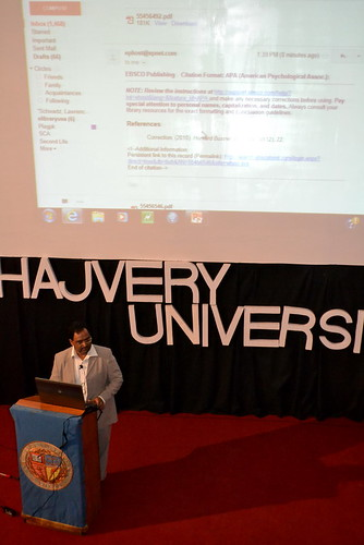 Library for the Digital Age; Mr. Muhammad Asif, Director AIRC delivers a workshop on e-Library USA at Hajvery University (HU).