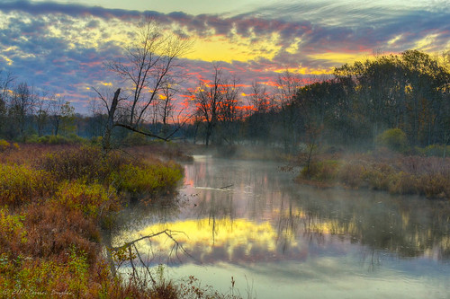 morning red mist reflection water yellow fog clouds mi sunrise river michigan dramatic kalamazoo concord mygearandme mygearandmepremium mygearandmebronze mygearandmesilver