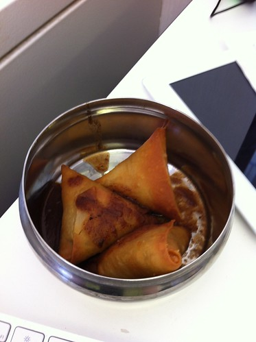 Lentil Samosa - My lunch from Tiffinday