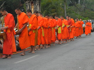 alms to the monks in Luang Prabang