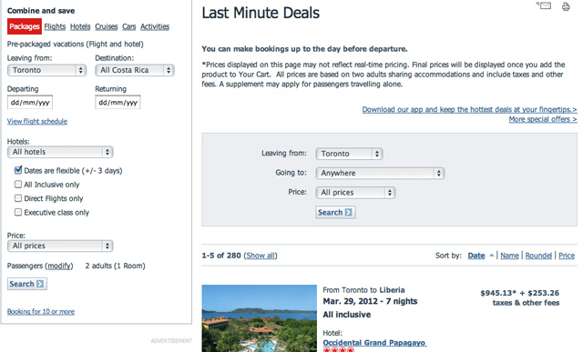Last Minute Deals at Air Canada Vacations