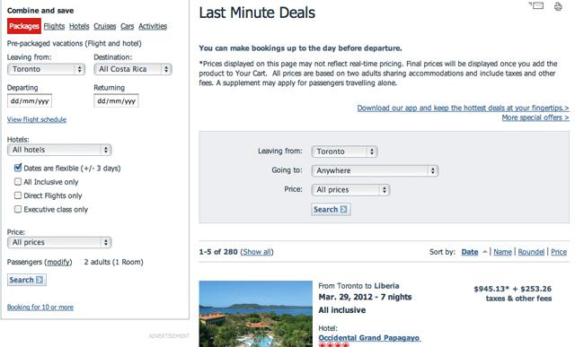 Last Minute Deals at Air Canada Vacations