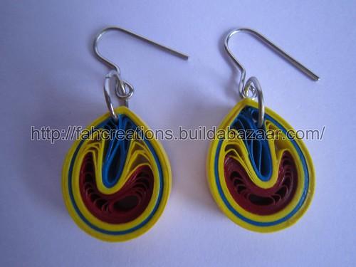 Handmade Jewelry - Paper Quilling Teardrops Earring (Jaali Pattern 1) QT-J1 by fah2305