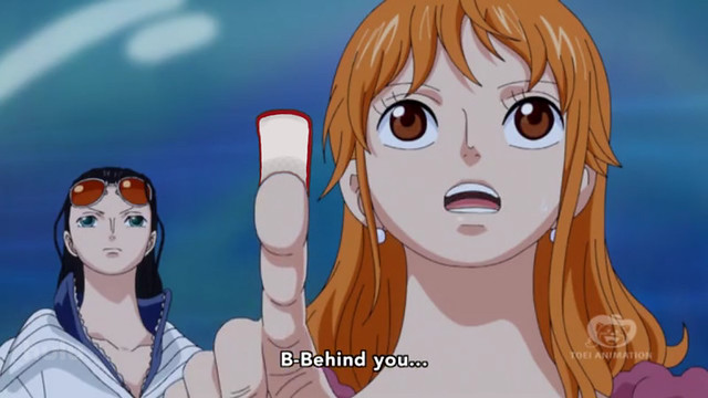 Nami pointing, worried
