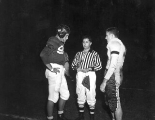 Football captains from Florida State University and Stetson University meet on the football field: Tallahassee, Florida