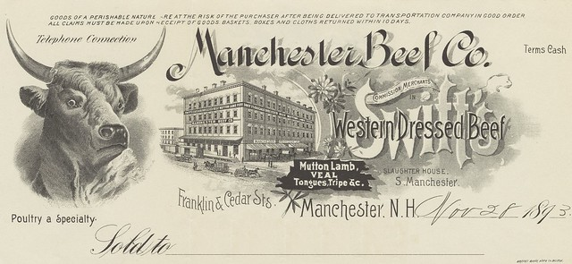Manchester, New Hampshire commercial invoice - letterhead with steer's head