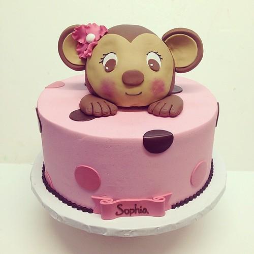 Monkey baby shower cake #polkadotscupcakefactory