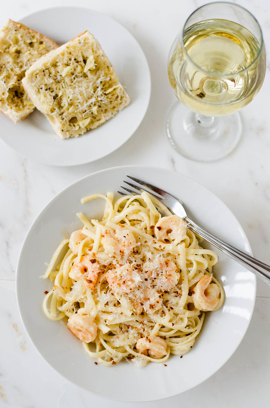 Shrimp Scampi with Fettuccine