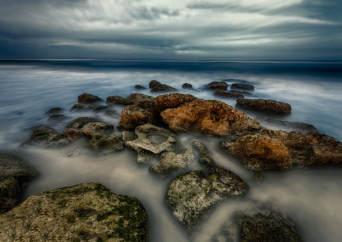 ocean longexposure sky usa cloud water rock landscape lowlight florida nighttime marineland centralflorida palmcoast