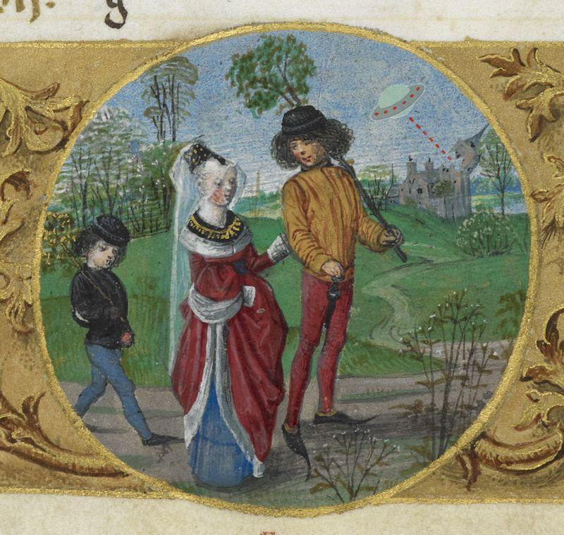 Летающая тарелка на иллюстрациях XV века
