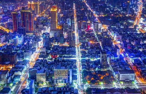 city streets night asia cityscape view taiwan fromabove kaohsiung cityview 2014 urbanasia тайвань виднагород гаосюн