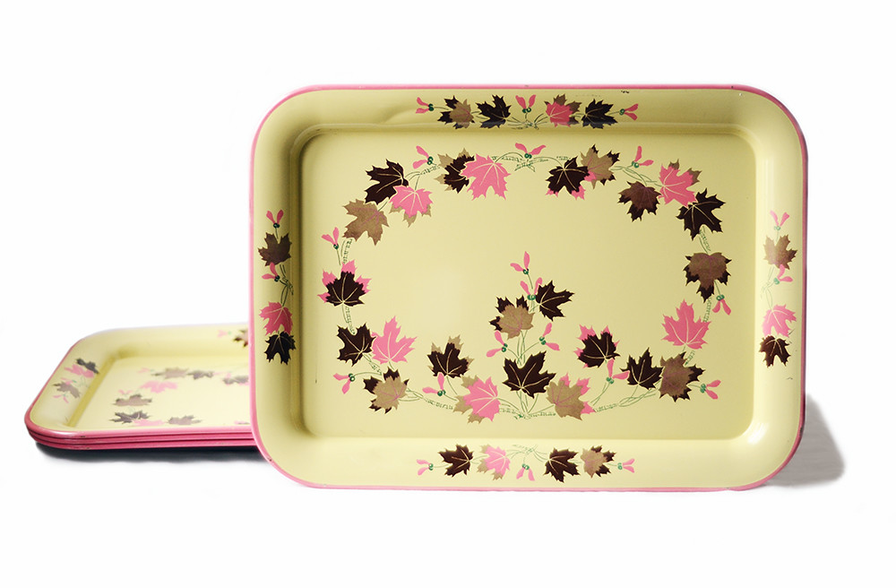 Four Vintage Pink, Brown, and Yellow Trays with Leaf Pattern