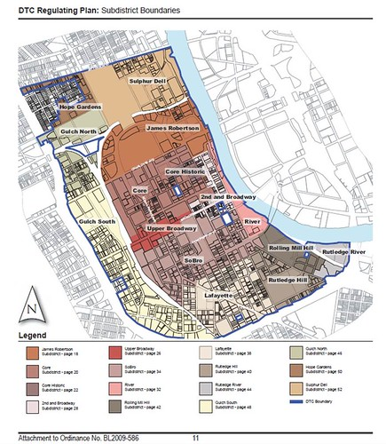 the area covered by the new zoning code (by: Nashville Downtown Code)