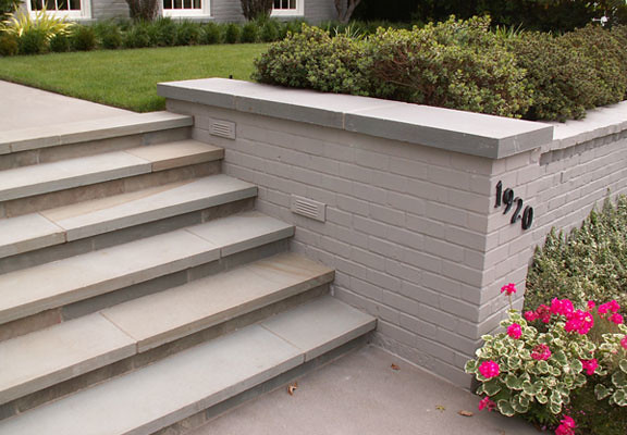 This bluestone staircase replaces old red brick steps