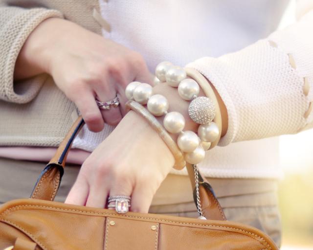 big pearl bracelet  - rings- wedding ring-sweater detail
