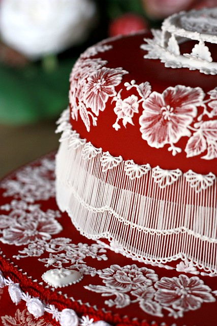 Ruby cake close-up