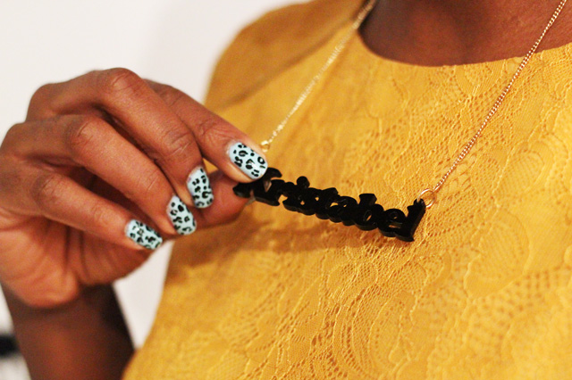 tatty devine name necklace leopard print nail art