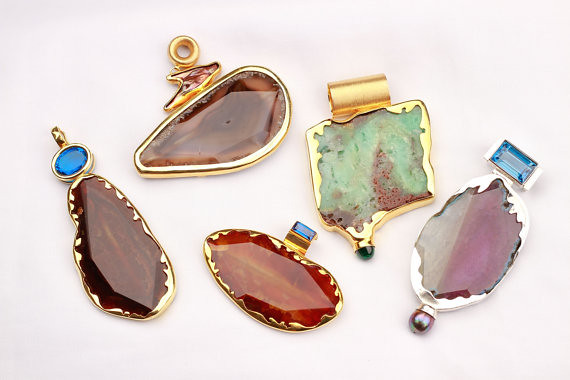 Brown Agate Pendant Drops