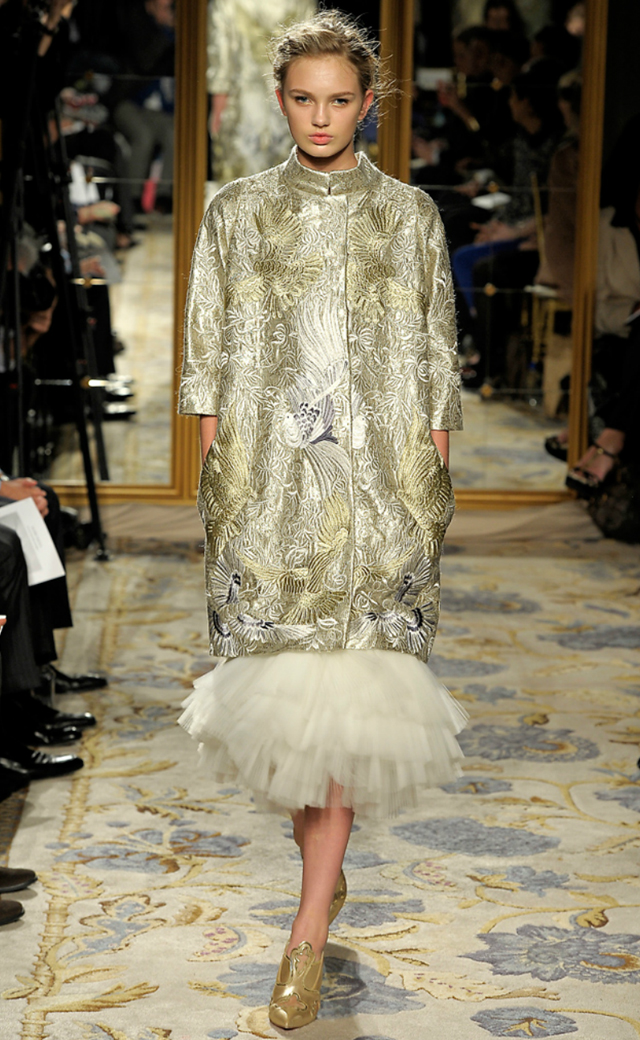 Marchesa 2012 metallic embroidered coat feather dress