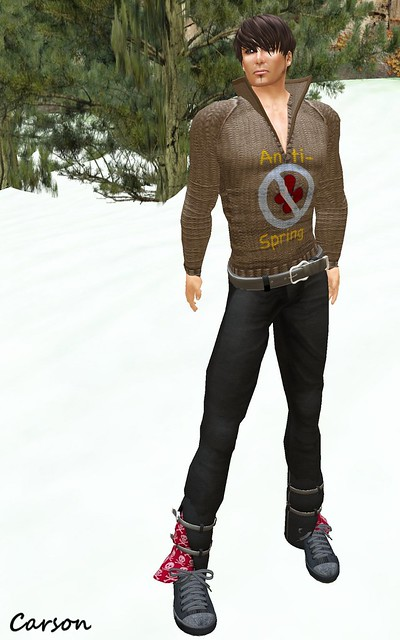 22769 - Black Double Cuff Pants and Belt, [ B!ASTA ] WHO NEEDS FLOWERS Sweater