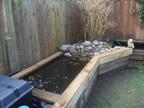 Railway sleeper pond extension stream page 2 pond for Wooden koi pond construction