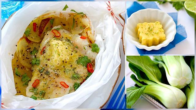 Zander mit Limettenbutter, Koriander,Kartoffelscheibchen und Pak Choi