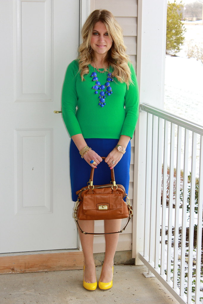 Vibrant Blue, Green, and Yellow Work Outfit 2