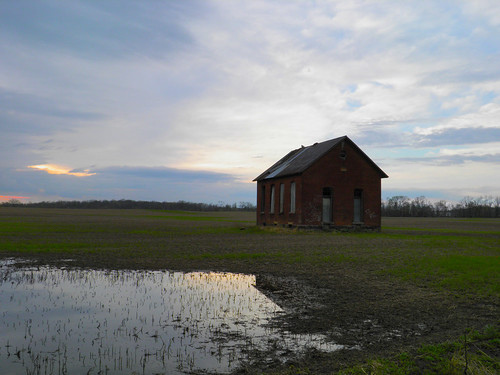 sunset abandoned field farm schoolhouse