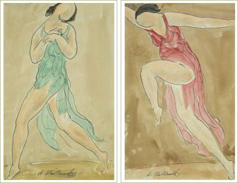 A series of two Walkowizt watercolors of Isadora in various dancing poses