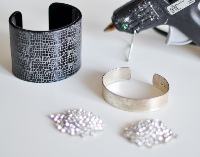 diy bracelet from vintage rhinestone earrings
