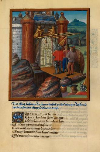 008-Corazon, Deseo y Largueza llegan al castillo de Placer.fol. 103-Le livre du Coeur d'amour épris, par le roi René d'Anjou-1460-BNF