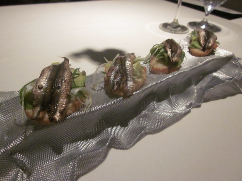Next/El Bulli - Chicago - February 2012 - Coca of Avocado Pear, Anchovies, and Green Onion