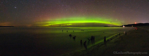 Good Harbor Bay ... aurora borealis panorama