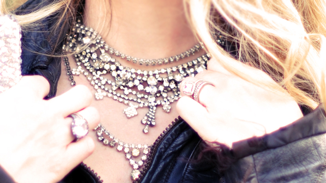vintage rhinestone  necklaces  -layered
