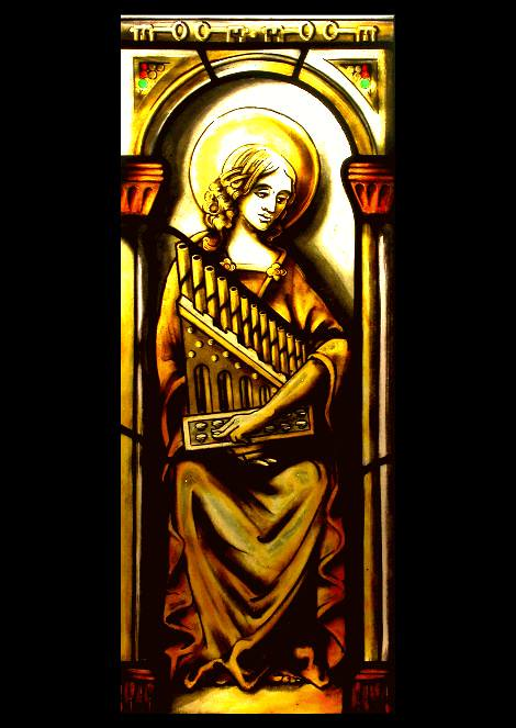 Stained glass Saint Cecilia