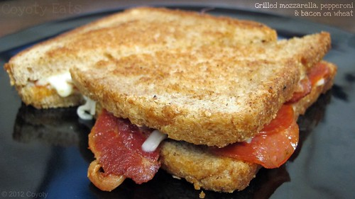 Grilled mozzarella, pepperoni & bacon on wheat by Coyoty