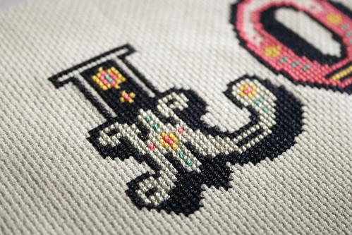 LOVE cross stitch detail