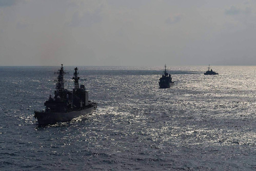 Japan Martime Self-Defense Force ship JS Amagiri, French Navy Ship FNS Vendemiaire , and USS Defender