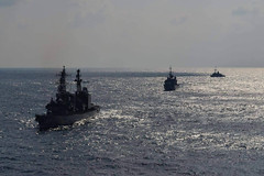 PACIFIC OCEAN (Feb. 27, 2012) JS Amagiri (DD 154), FNS Vendemiaire (F 734), and USS Defender (MCM 2) maneuver  in formation during a passing exercise off the coast of Kyushu, Japan. Training during the event included basic communications and navigation drills that helped participants to develop relationships and improve their tactical capabilities. (Photo courtesy of the Japan Maritime Self-Defense Force)