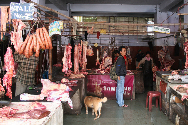Meat market in Darjeeling, India.
