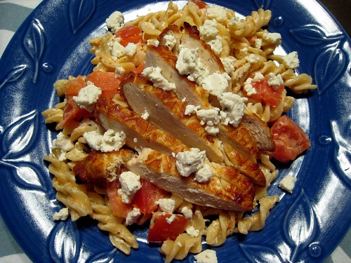 Chicken, tomato, goat cheese pasta